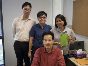 Lee with the three editors (author, right) who conducted this interview (photo by Ong Shi Lun)