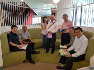 Members of the CSCF Board at Tampines Regional Library's re-opening: (from left) Mr Choo Thiam Siew, Mr Ch'ng Jit Koon, Ms Ruth Cao, Mr Teo Tong How, Prof Eddie Kuo, Dr Ho Soo Guang, and Dr Lee Peng Shu