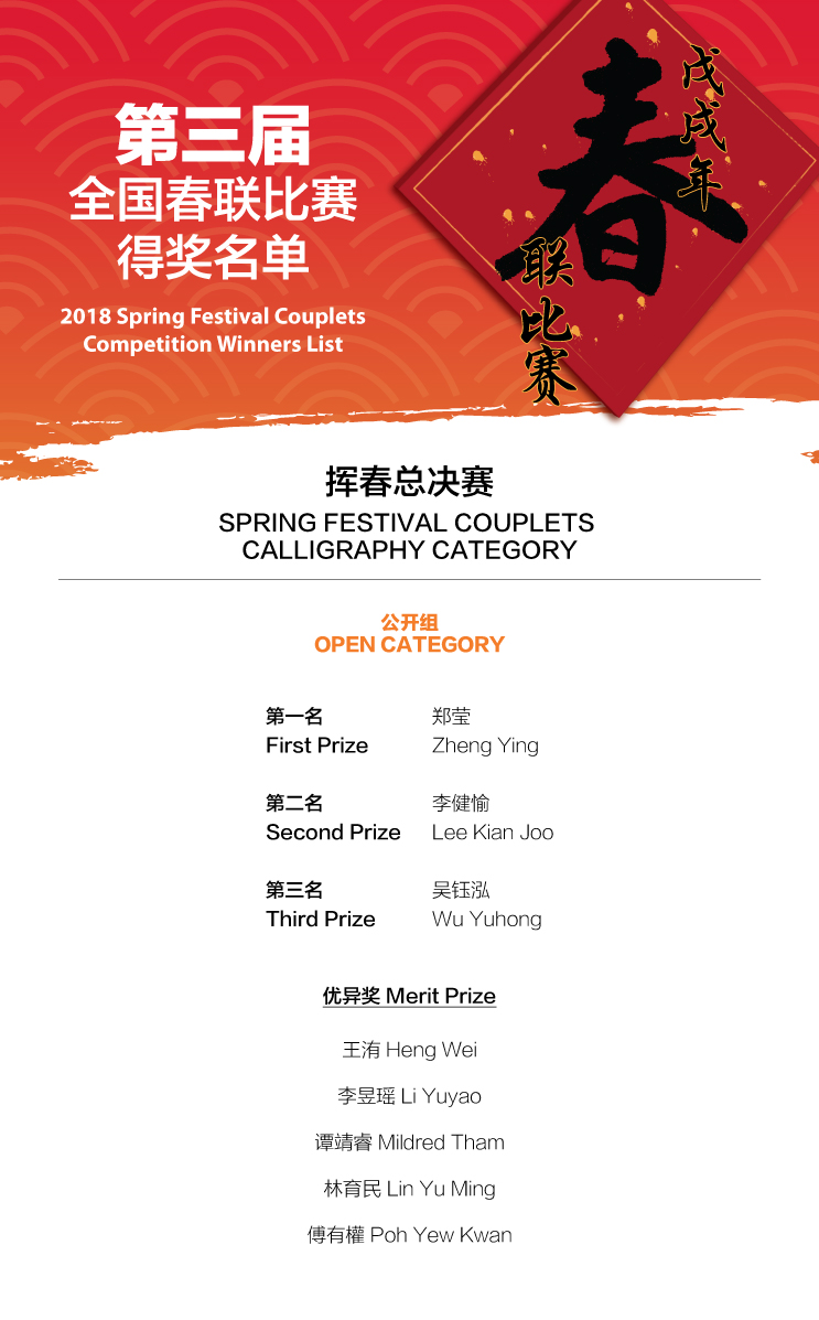 Spring Couplets Calligraphy Winners list 1