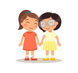Smiling girls kids holding hands. Children cartoon characters. Flat vector illustration, Isolated on white background